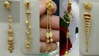 Latest Light Weight Gold Dangling Earrings Designs 2018