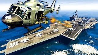 Mercenaries Invade the Aircraft Carrier and Attack the Military in GTA 5!