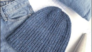 Мужская шапка спицами из KILCAR TWEED KNOLL резинкой 1х1 / ОБЗОР