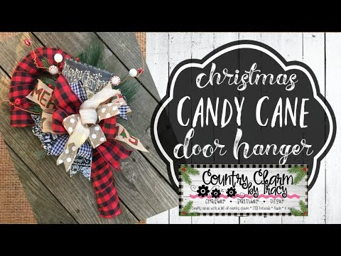 Buffalo Check Candy Cane Door Hanger | Christmas DIY | Dollar Tree Wreath Form