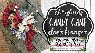 Buffalo Check Candy Cane Door Hanger | Christmas DIY | Dollar Tree Wreath Form