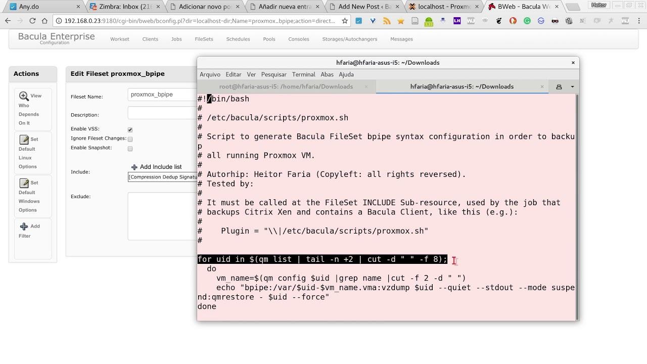 Copia de seguridad de VM Proxmox con el plugin Bacula bpipe
