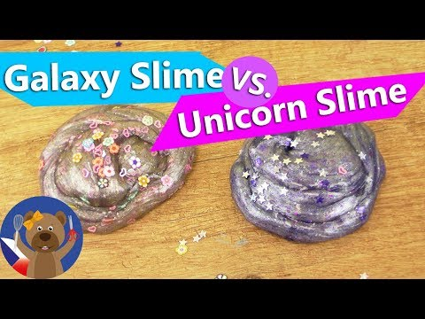 Galaxy Slime vs. Unicorn Slime | Sliz DIY nápady se třpytkami, srdíčky a hvězdičkami