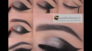 CAT EYE TUTORIAL, SILVER AND BLACK SMOKY EYEN MAKEUP, PARTY EYE MAKEUP FOR CATS EYE