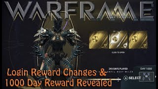 Warframe - Login Rewards Changes & 1000 Day Reward Revealed!