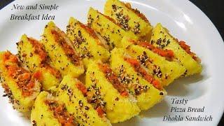Leftover Bread Recipe/ New and Simple Breakfast Recipe - Pizza Bread Dhokla Sandwich Recipe