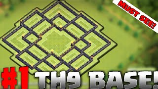 Clash of Clans - TH9 BEST BASE! TROPHY BASE.. TOWNHALL 9