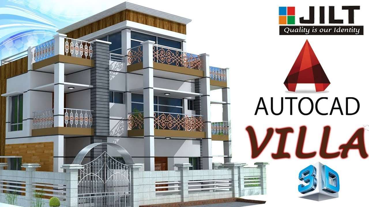 Create 3d Double Storied Villa Using Autocad In Easy Steps Part 1