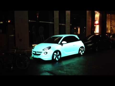 Illuminated Opel car in Copenhagen