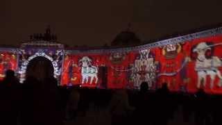 """Световое шоу """"Новогоднее путешествие"""" на фасадах Дворцовой площади."""