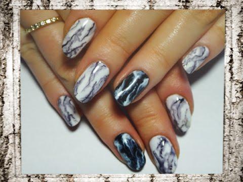 Мраморный дизайн ногтей гель лаком фото пошагово