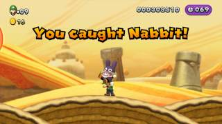 New Super Luigi U - Catch Nabbit, P-Acorn Acquired, Spinning Sand Stones 1080 HD Gameplay Wii U