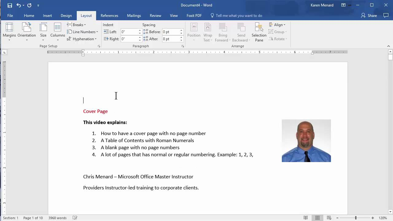 MS Word - Cover page, TOC / Roman Numerals and normal page numbering by  Chris Menard