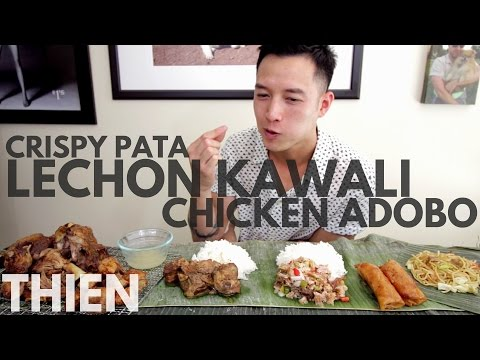 [mukbang with THIEN]: Filipino Crispy Pata, Sisig, Lechon Kawali, and Chicken Adobo