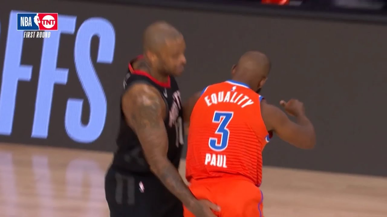 PJ Tucker slapping Chris Paul on the a*s   Rockets vs Thunder