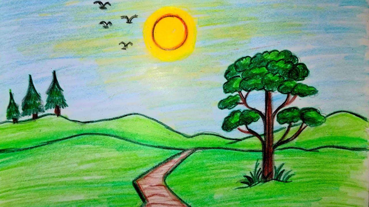 رسم منظر طبيعي سهل رسم مناظرطبيعية رسم مناظرطبيعيةبلالوان الخشبية تعليم الرسم للمبتدئين Youtube