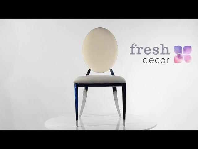 Видео обзор серебряного металлического стула Milan с белой спинкой и подушкой.