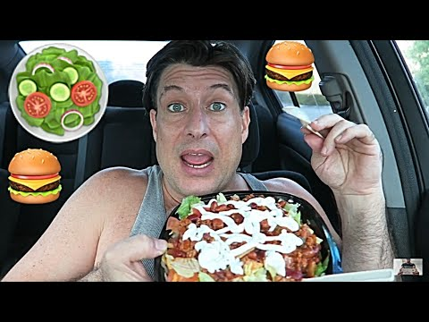 Wendys / Mukbang #19 / Eat a Taco Salad, Junior Bacon Cheese Burger, and a Double Stack from Wendys
