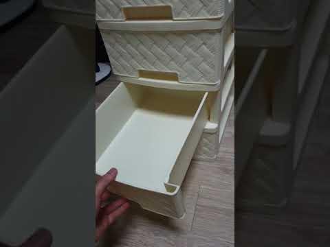 [헬로마켓] - 4단 라탄 플라스틱 서랍장(20000원)