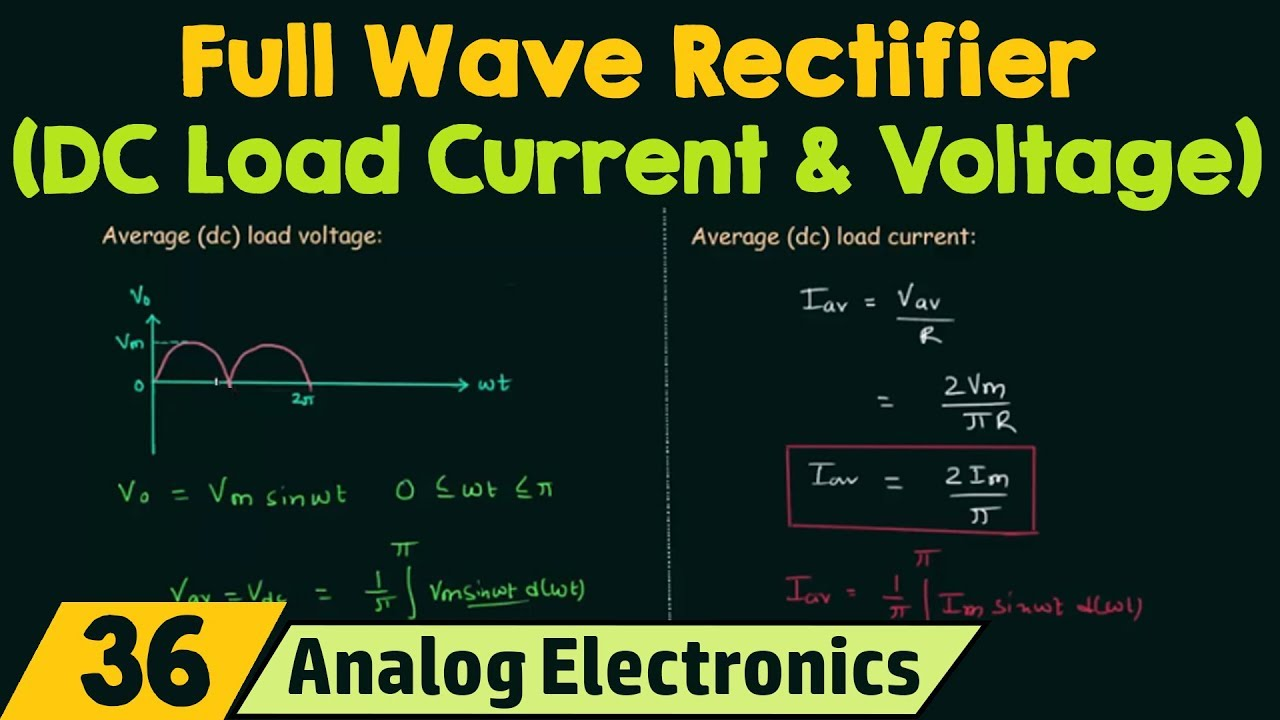 Full Wave Rectifier Dc Load Current Voltage Youtube Do Diodes Work In A Circuit On Half Diode Schematic
