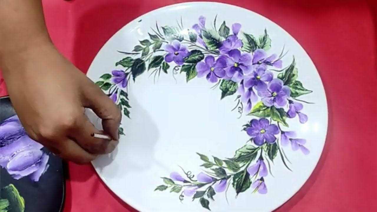 Quick And Easy Floral Pattern Acrylic On Ceramic Plate Youtube