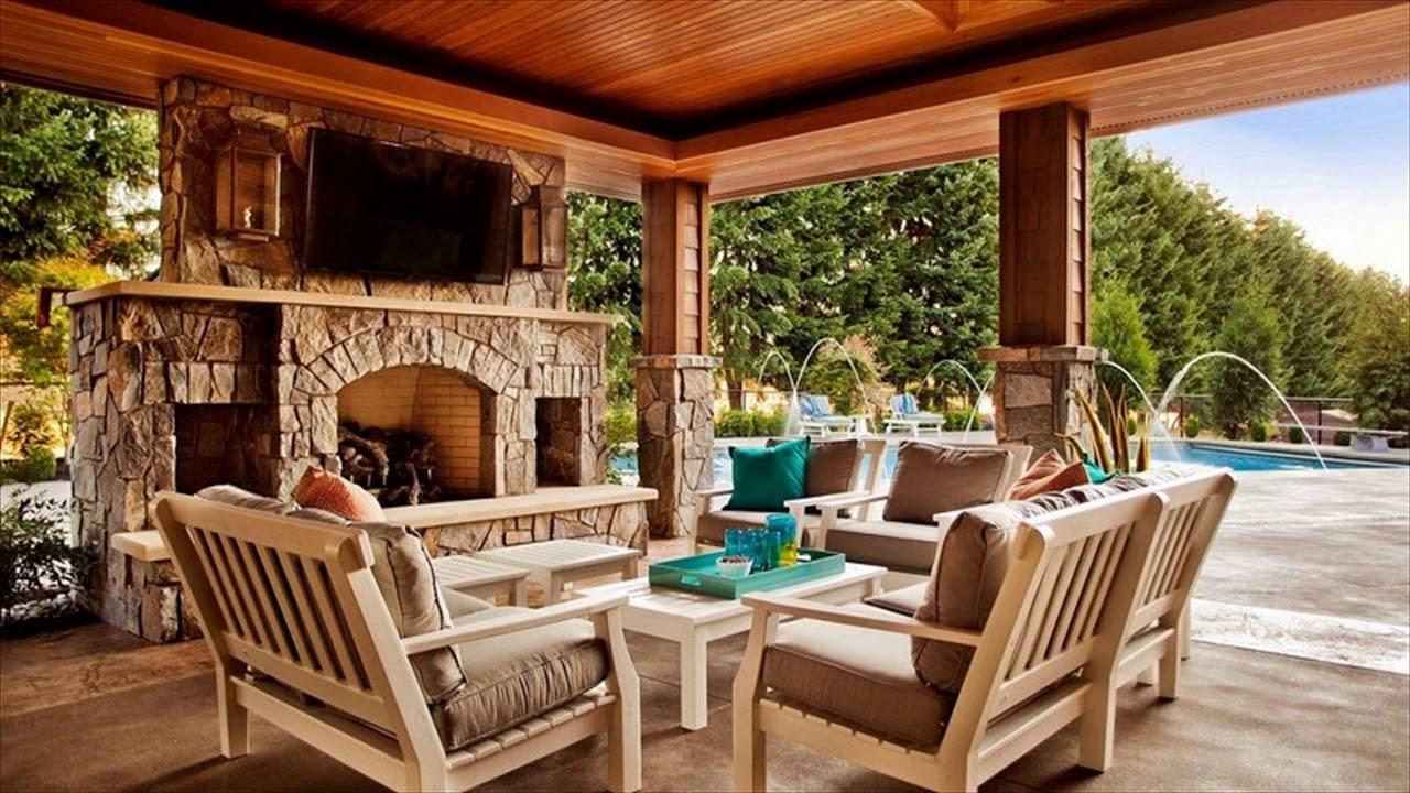 Outdoor Patio Fireplace Ideas Designs For Backyard - YouTube on Backyard Patio Designs  id=36226