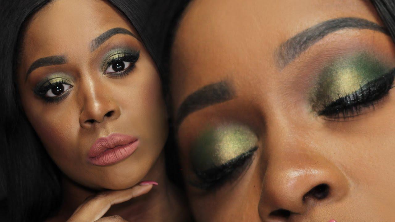 Fall Makeup tutorial DARK SKIN 🍃 Olive Green Smokey Eyes + Nude Lips //  TRUCCO AUTUNNO PELLE SCURA