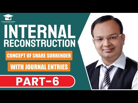 #6 | Internal reconstruction | Concept of shares surrender with journal entries