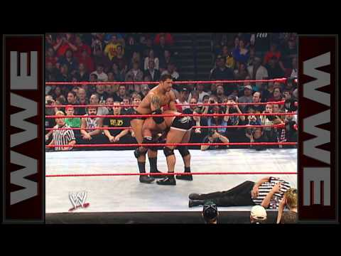 Batista breaks Goldberg's ankle - Raw, Oct. 20, 2003