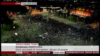 Corruption and wages protests (day 2) update (Romania) - BBC News - 11th August 2018