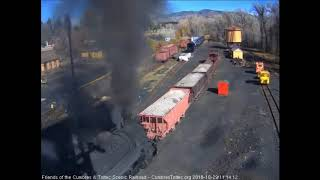 10/28/2018 K36 487 takes a ballast train out of Chama, NM