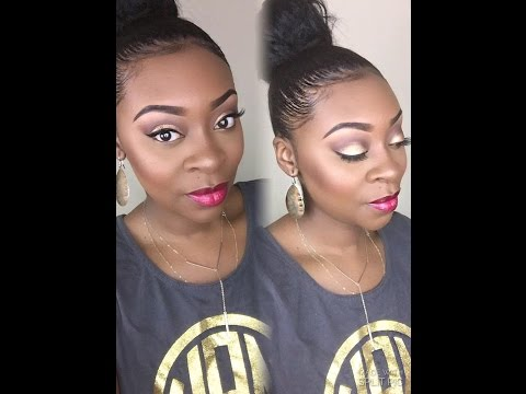 tutorial:-gold-eyes-with-red-lips-|-wetnwild-highlight-and-liquid-lipstick