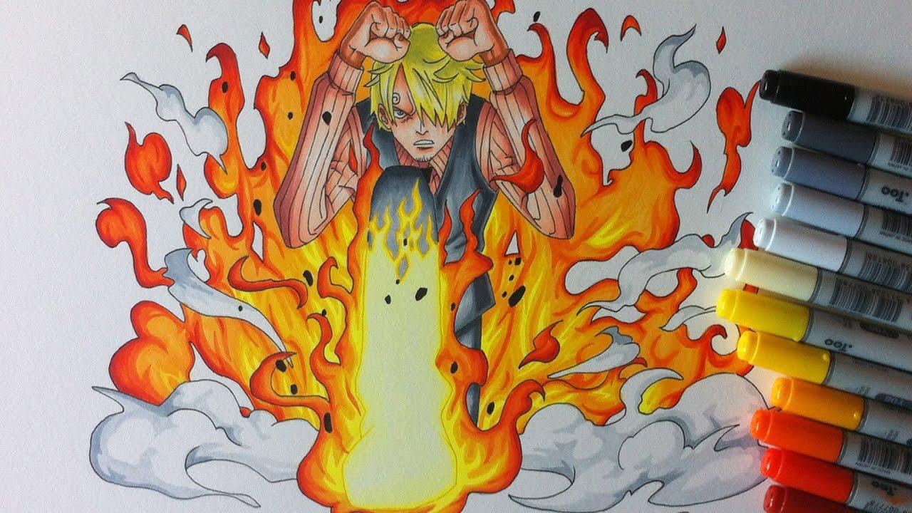 Drawing Vinsmoke Sanji Diable Jambe Flamble Youtube