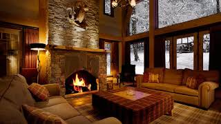 At the Cabin  Snow with Fireplace Sound HD