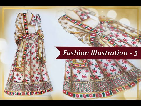 Fashion Illustration - 3 Traditional Indian Dress