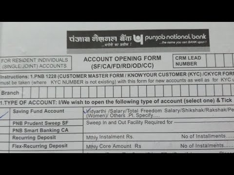 How to fill Punjab National Bank Account Opening Form:: explained in