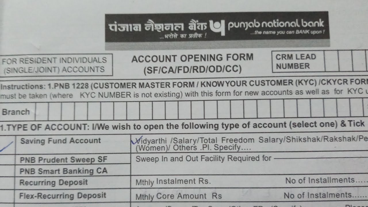 How To Fill Punjab National Bank Account Opening Form Explained In Step By Step Youtube