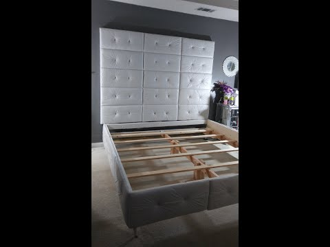 DIY: #HOW TO BUILD A CALI. KING SZ. | #TUFTED PANELED BED