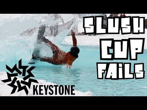Pond Skim 2018 Keystone Slush Cup - Snowboard Fail