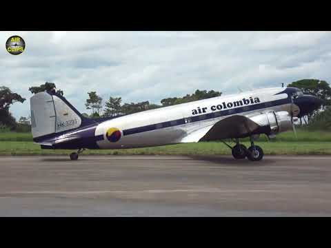 PISTON SOUND! DC-3 in commercial passenger service today: Air Colombia departing HEAVY!!! [AirClips]