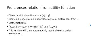 Preferences relation from utility function