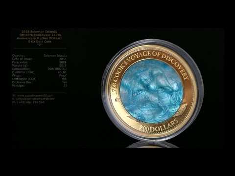Solomon Islands 2018 200$ HM Bark Endeavour 250th Anniversary Mother Of Pearl Transport Series 5 Oz