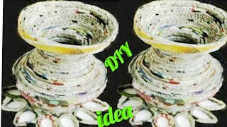 How to make Flower Pot with newspaper | Newspaper flower vase