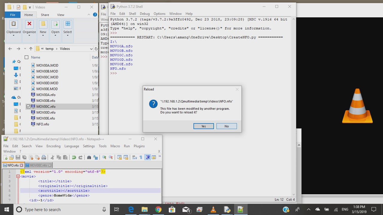 Python Script to Create NFO files for Home Videos to read into Kodi