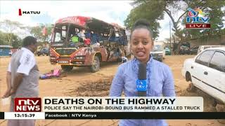 Matuu accident: 14 killed as Nairobi-bound bus rams into stalled lorry