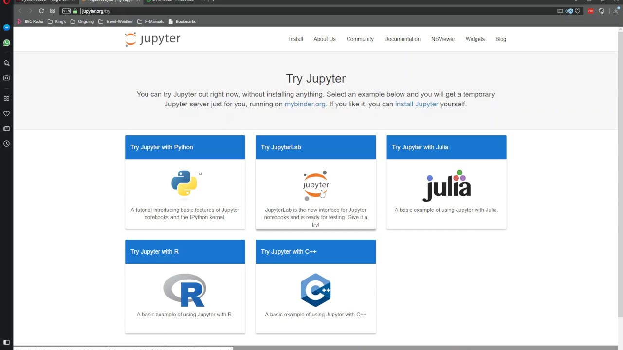 Trying Jupyter Notebooks online