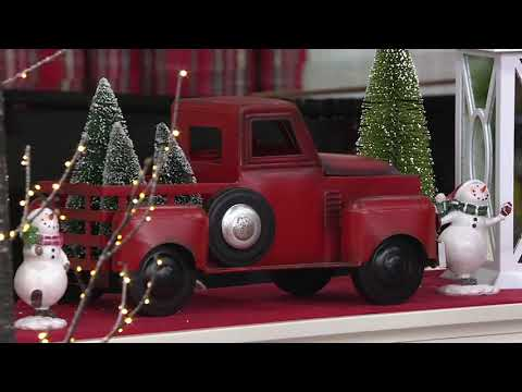 Vintage Metal Red Truck with 3 Removable Bottlebrush Treesby Valerie on QVC