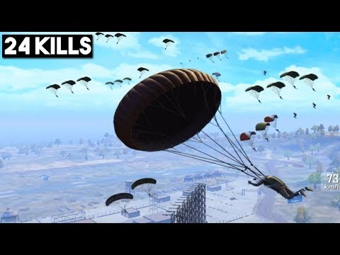 MOST EPIC MILITARY LANDING EVER! | 24 KILLS Solo vs Squad | PUBG Mobile