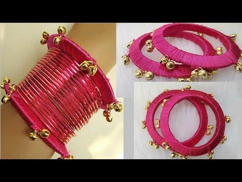 Diy||how to make designer silk thread bangle with ghungroo||silk thread bangle making at home