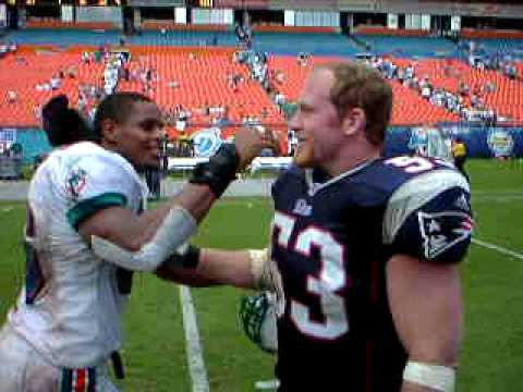 Miami Dolphins Zach Thomas and New England Patriots Larry Izzo Talk After a Game with the Patriots